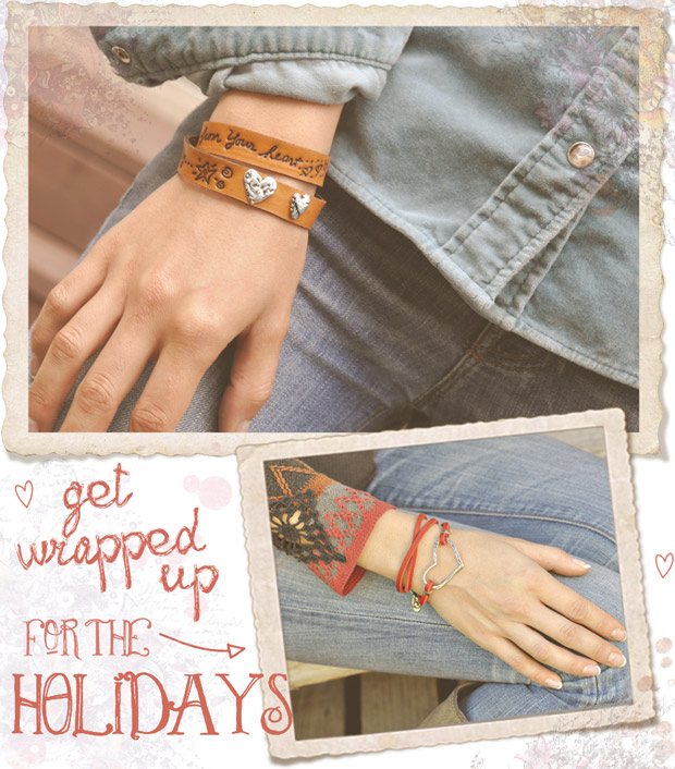 Inspirational leather wrap bracelets