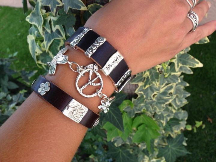 leather silver bracelet