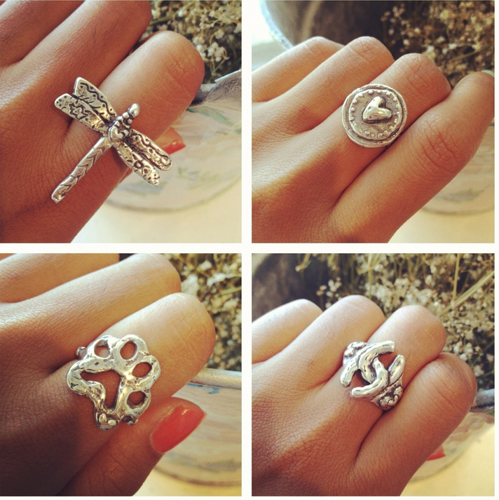 bohemian rings dragonfly ring puppy paw ring