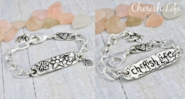 inspirational silver jewelry cherish life