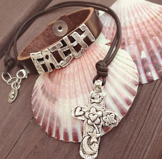 faith leather bracelet cross necklace