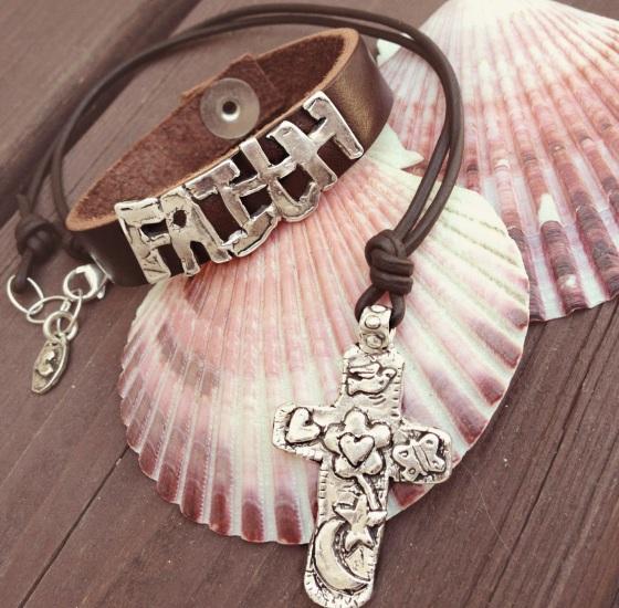 faith leather bracelet cross necklace