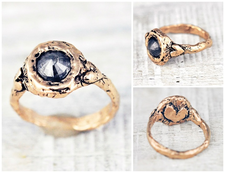 rose cut grey diamond ring alternative engagement