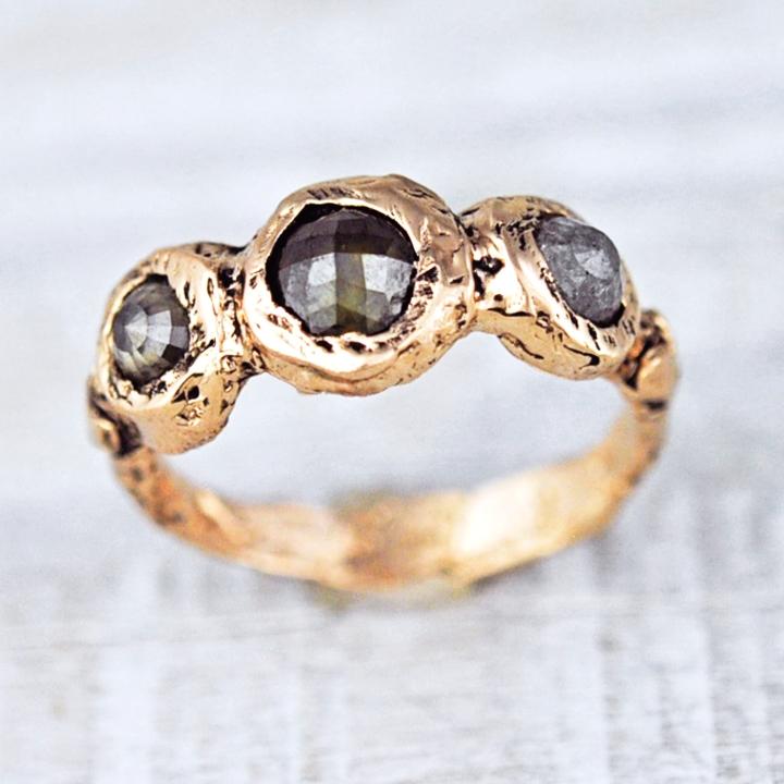 grey rose cut diamond ring rose gold