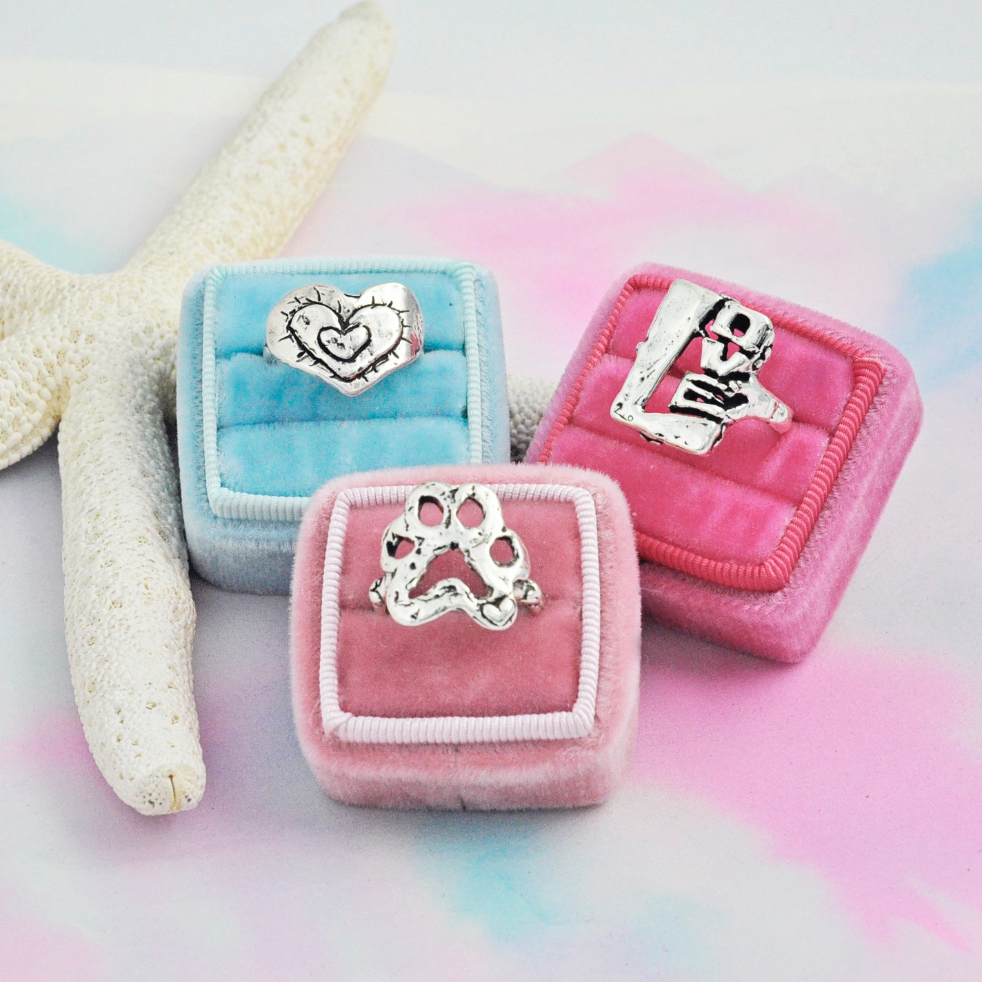 love ring heart ring puppy paw