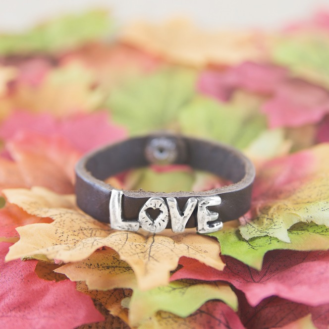 Love word leather bracelet